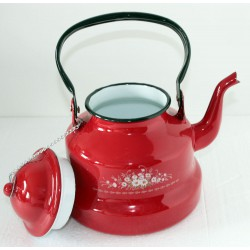 Emaille waterketel rood 3...